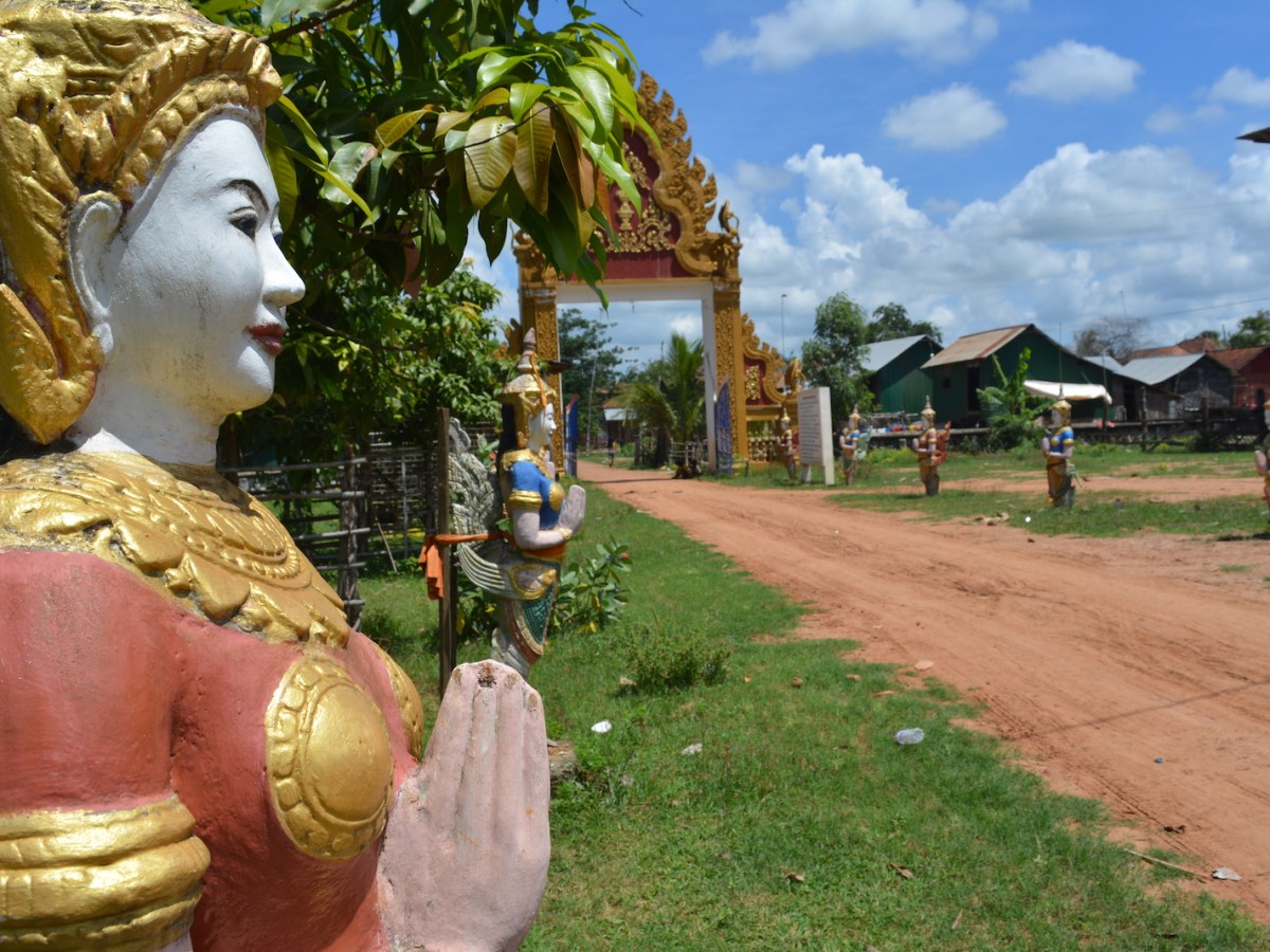 The entryway to a Buddhist temple in Cambodia' Kampong Cham province, June 2017. Photo: Erin Handley