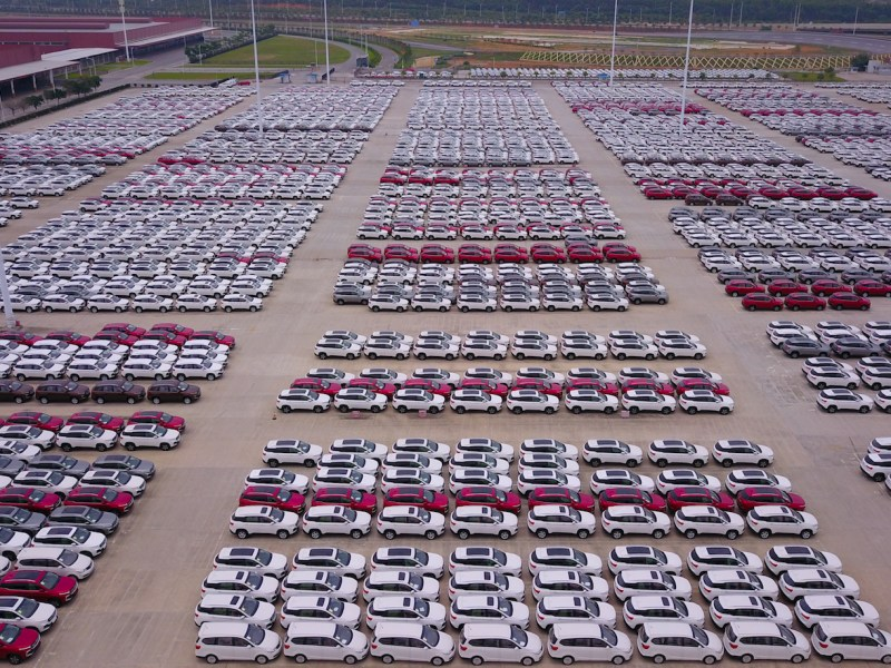 In this aerial view, newly-manufactured Baojun cars are lined up at the plant of SGMW (SAIC-GM-Wuling) in Liuzhou city, south China's Guangxi Zhuang Autonomous Region.