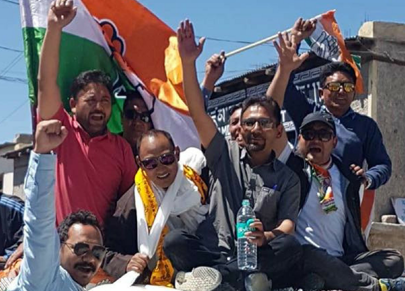 Congress members celebrate their poll victory in the Shey-Thiksay seat on the Ladakh Autonomous Hill Development Council. Photo: Supplied