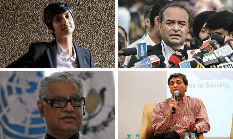 Clockwise from top left, lawyers Menaka Guruswamy, Mukul Rohatgi, Shyam Divan and Anand Grover. Photo: Agencies