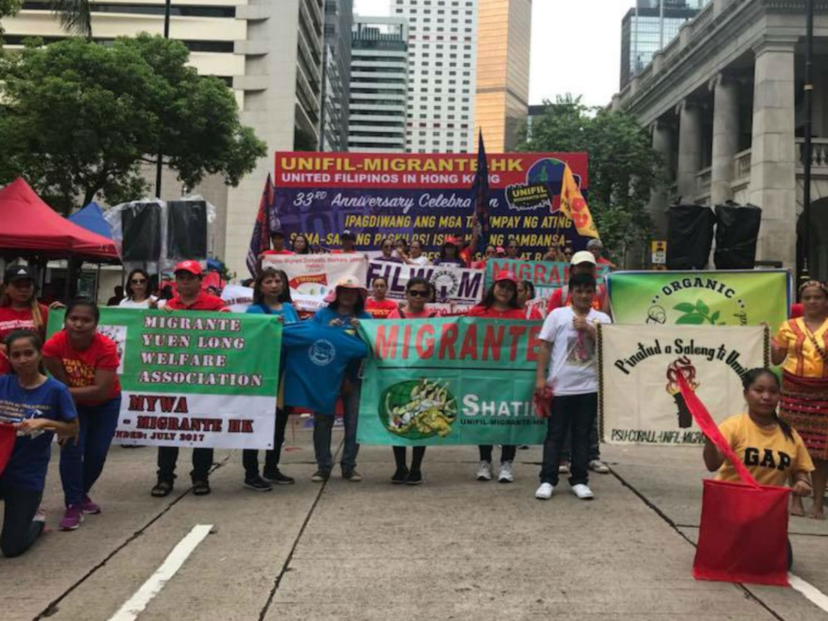 Organizations that are part of of Unifil-Migrante HK hold a demonstration. Photo: Migrante-Hong Kong @Facebook