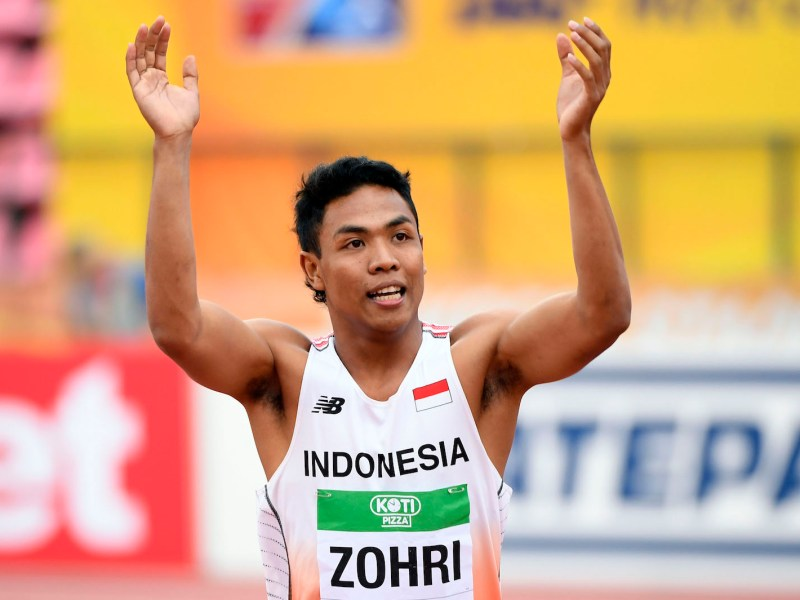 Lalu Muhammad Zohri wins the gold medal in the men's 100 meters race at the IAAF World U20 Championships at Tampere in Finland on July 11, 2018. Photo: AFP Forum/ KMSP/ Julien Crosnier
