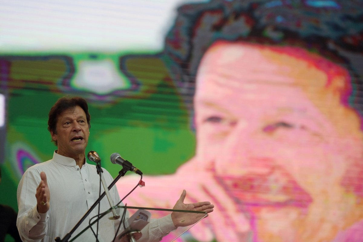 Pakistani Prime Minister Imran Khan of the Pakistan Tehreek-e-Insaf party addressing supporters at a pre-election rally in Islamabad on June 30. Photo: AFP/Aamir Qureshi