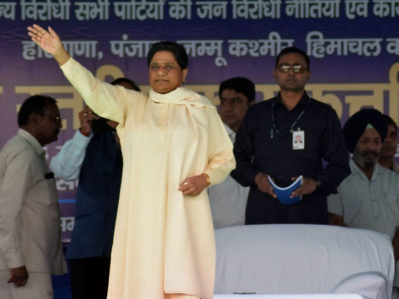 Mayawati of the Bahujan Samaj Party at a rally on March 15, 2018. Photo: AFP/The Times of India/Pritam Thakur