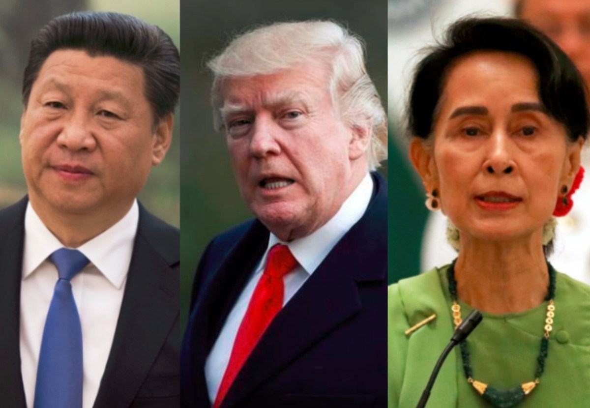 Combination photo of Chinese President Xi Jinping (L), US President Donald Trump (C), and Myanmar State Counsellor Aung San Suu Kyi. Image: Facebook