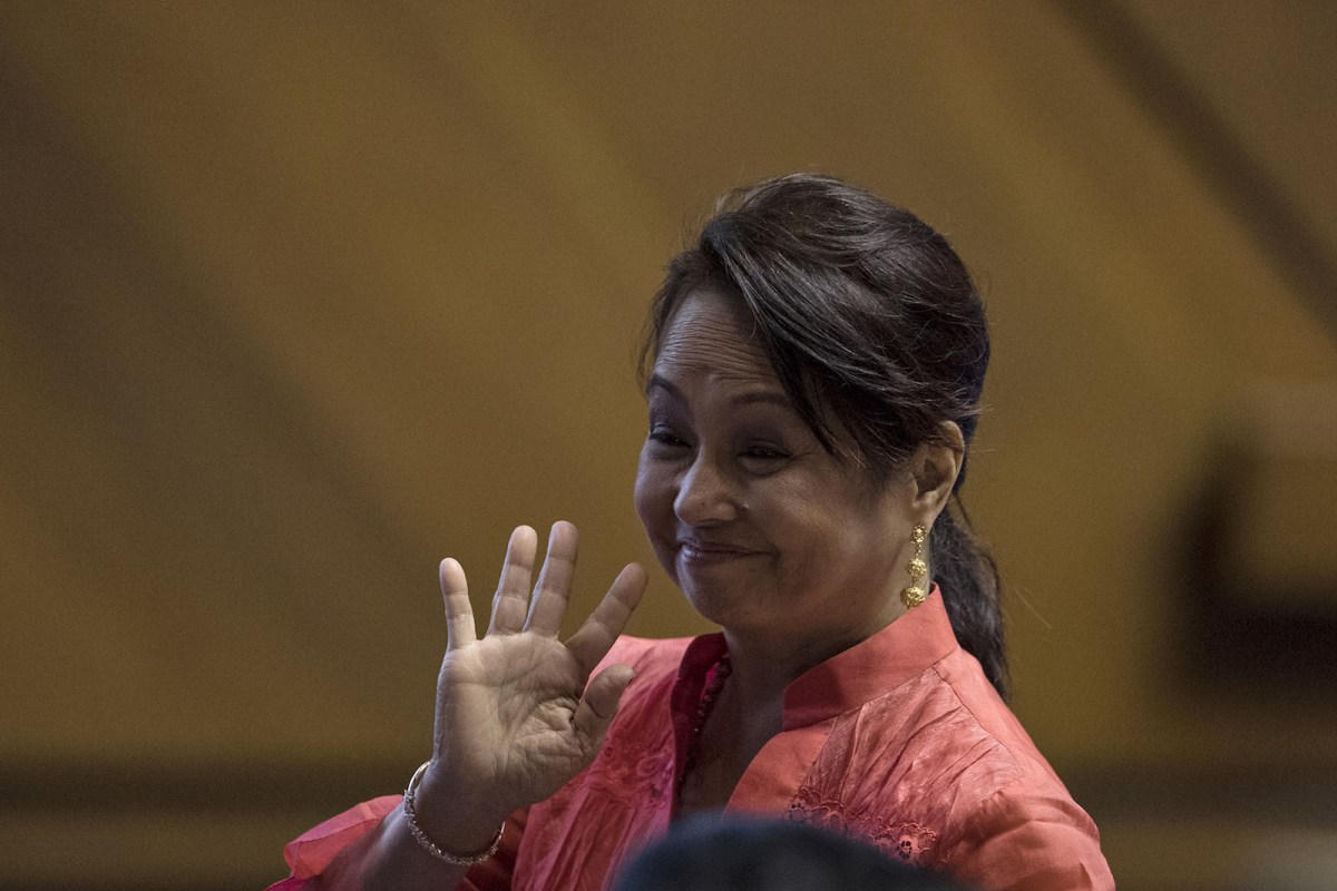 Former Philippine president and congresswoman Gloria Arroyo waves during the third session of the 17th Congress ahead of Philippine President Rodrigo Duterte's state of the nation address at Congress, in Manila on July 23, 2018. Photo: AFP/oel Celis