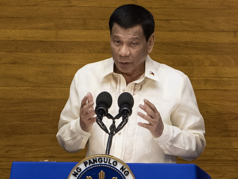 Philippine President Rodrigo Duterte gestures as he delivers his state of the nation address at Congress in Manila on July 23, 2018. Photo: AFP/Noel Celis