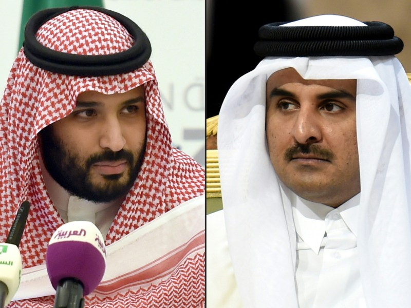 Saudi Defence Minister and Crown Prince Mohammed bin Salman, left, is locked in a dispute with Qatar's Emir Sheikh Tamim bin Hamad Al-Thani, right. File photos: AFP / Fayez Nureldine