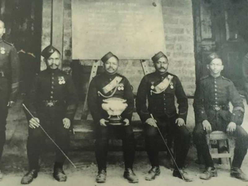 Subedar Gambhirshing Gurung and his fellow officers in 1911. Photo: The family of Subedar Gambhirsing Gurung