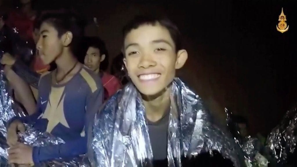 One of the twelve children who have been stuck in Thailand cave for more than two weeks. Thai Navy Seals