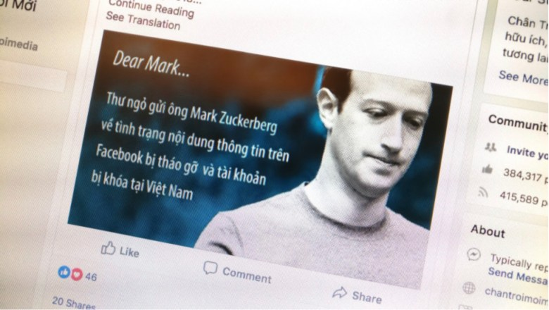 Facebook page with a message to the social media giant's founder Mark Zuckerberg in the Vietnamese language. Image: Twitter