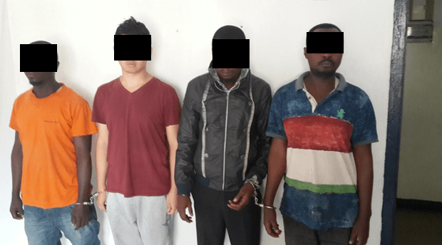 Four of the 'wildlife smugglers' arrested by Congo police now held in Brazzaville. They are alleged to be part of gangs shipping big loads of illegal wildlife parts to Southeast Asia and China. Photo: Supplied