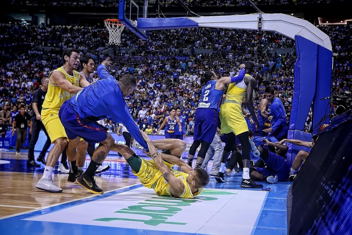 A shot of the brawl that erupted between Philippine and Australian players during their World Cup qualifier in Bocaue, north of Manila. Photo: AFP/ Pet Salvador