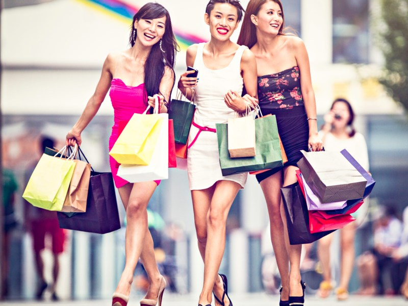 Three asian girls shopping. Photo: iStock