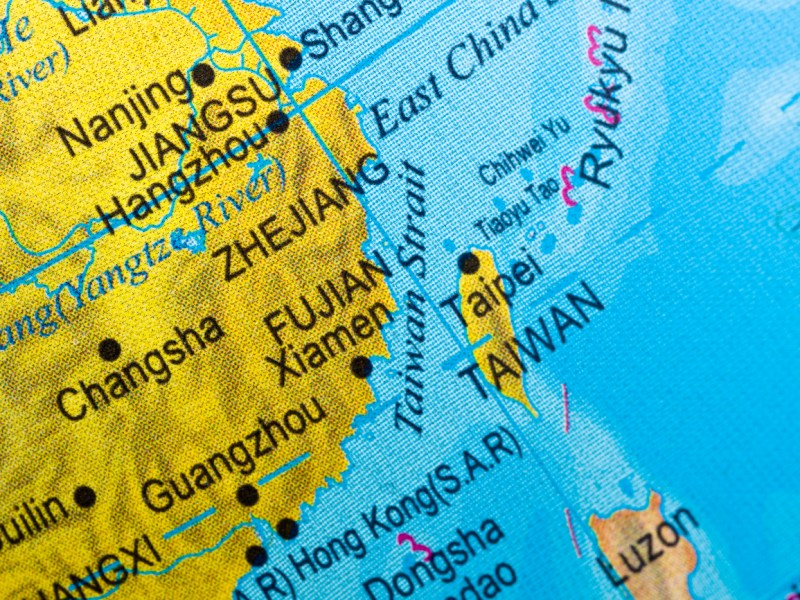 Taiwan strait map close up  in an small world globe (this picture has been shot with a High Definition Hasselblad H3D II 31 megapixels camera and 120 mm f4H Hasselblad macro lens). Image: iStock