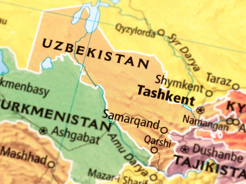 Map of Uzbekistan. A detail from the World Map provided by RAND McNALLY. Map: iStock