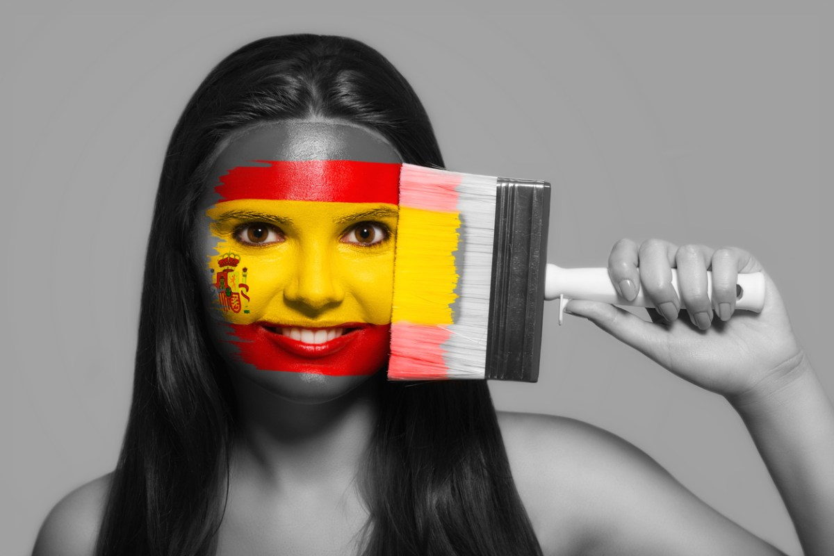 Female supporter in national colors of Spain. Photo: iStock