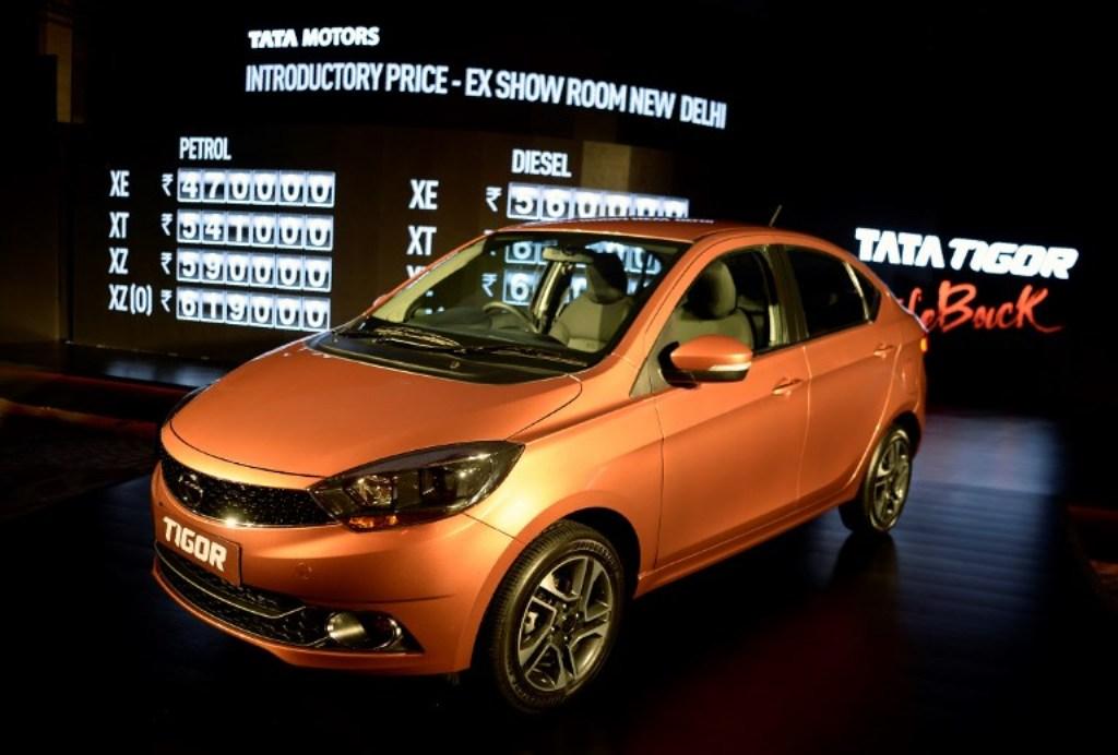 Tata Motors' Tigor mini sedan on display during its launch in Mumbai on March 29, 2017. Photo: AFP