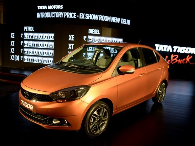 Tata Motors' Tigor mini sedan on display during its launch in Mumbai on March 29, 2017. Photo: AFP