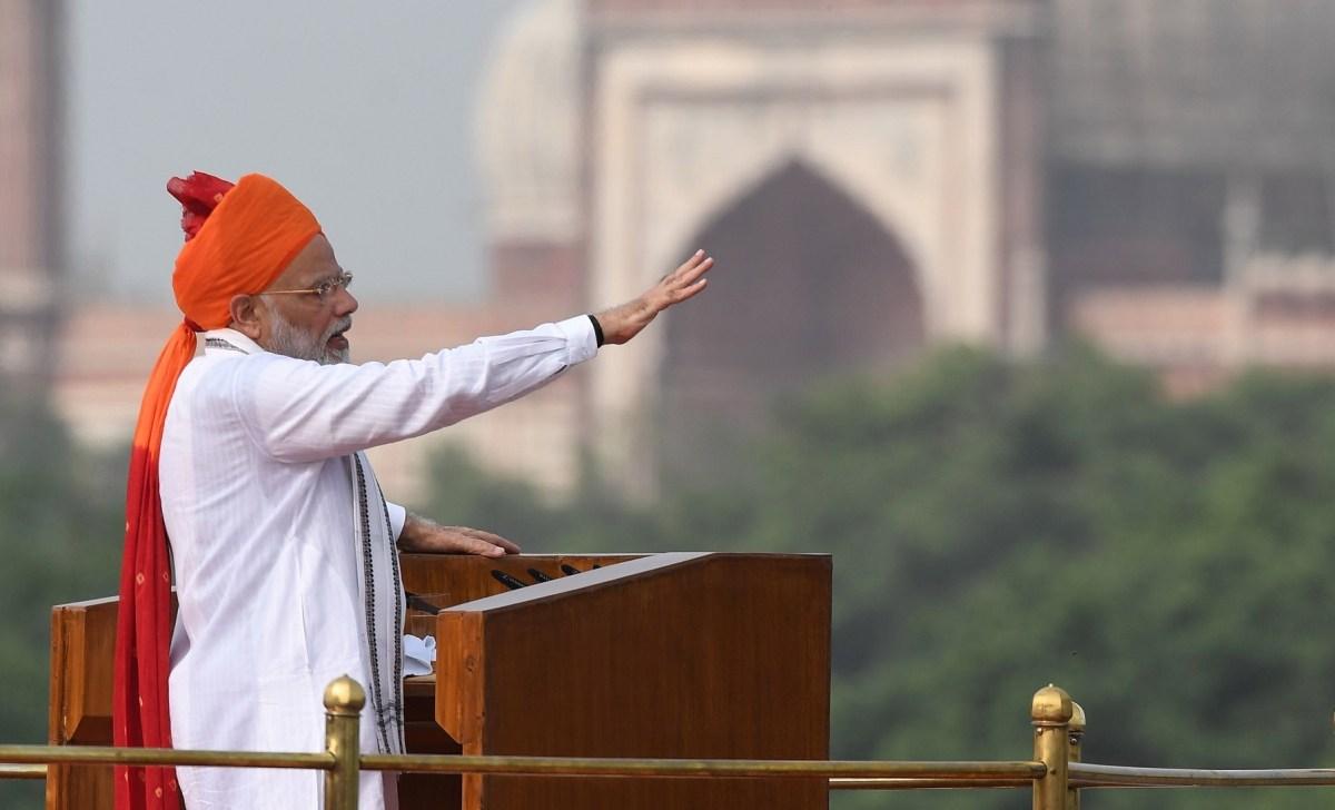 Prime Minister Narendra Modi at the Red Fort in New Delhi on August 15, 2018. Photo: AFP/Prakash Singh