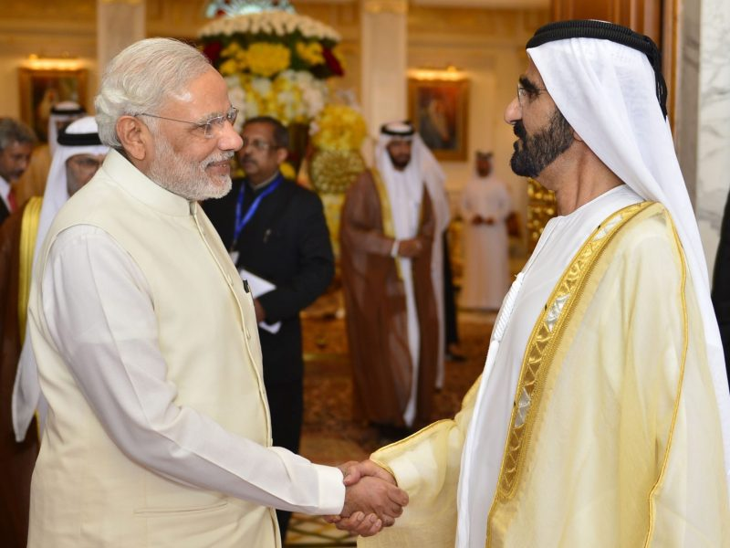 Indian PM Narendra Modi meets Sheikh Mohammed bin Rashid al-Maktoum, Prime Minister of the United Arab Emirates in Dubai in August 2015. Photo: AFP / WAM / Ho