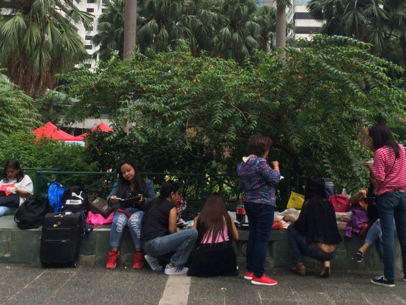 Domestic workers in Central on Hong Kong Island. Photo: Asia Times