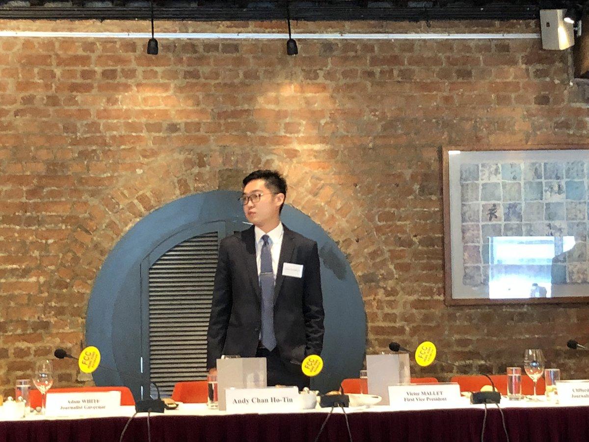 Hong Kong National Party convener Andy Chan speaks at the Hong Kong Foreign Correspondents' Club. Photo: Twitter
