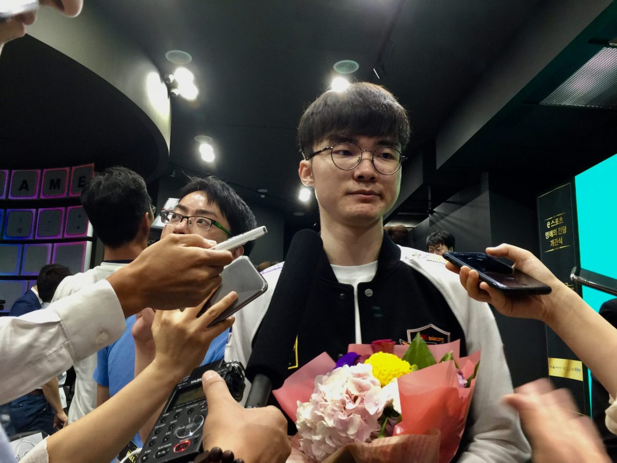 The 'Unkillable Demon King' speaks to reporters before jetting off for a date with destiny with the region's deadliest nerds at the Asian Games. Photo: Andrew Salmon/Asia Times
