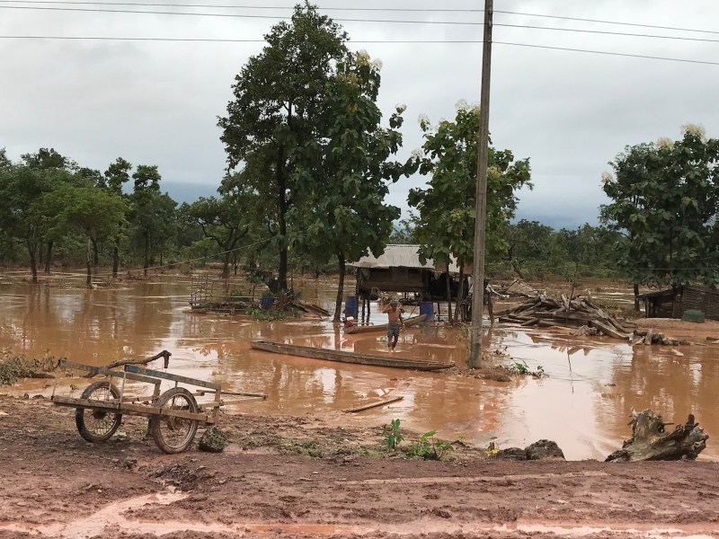 Part of the area in Attapeu in southern Laos that was swamped by the collapse of the dam. Photo: International Rivers