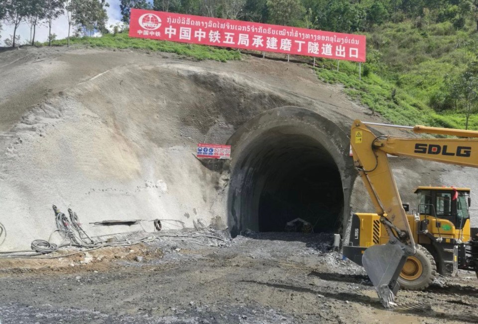 A tunnel under construction along the Laos-China railway. Photo: Facebook