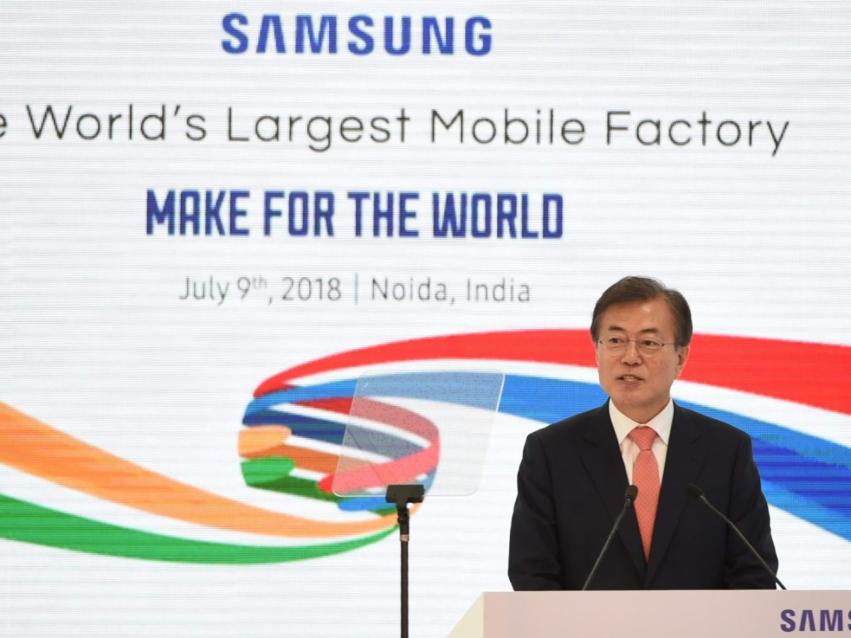 South Korean's President Moon Jae-in talks at the inauguration of the world's largest smartphone factory – a Samsung plant in India. Photo: AFP/ Money Sharma