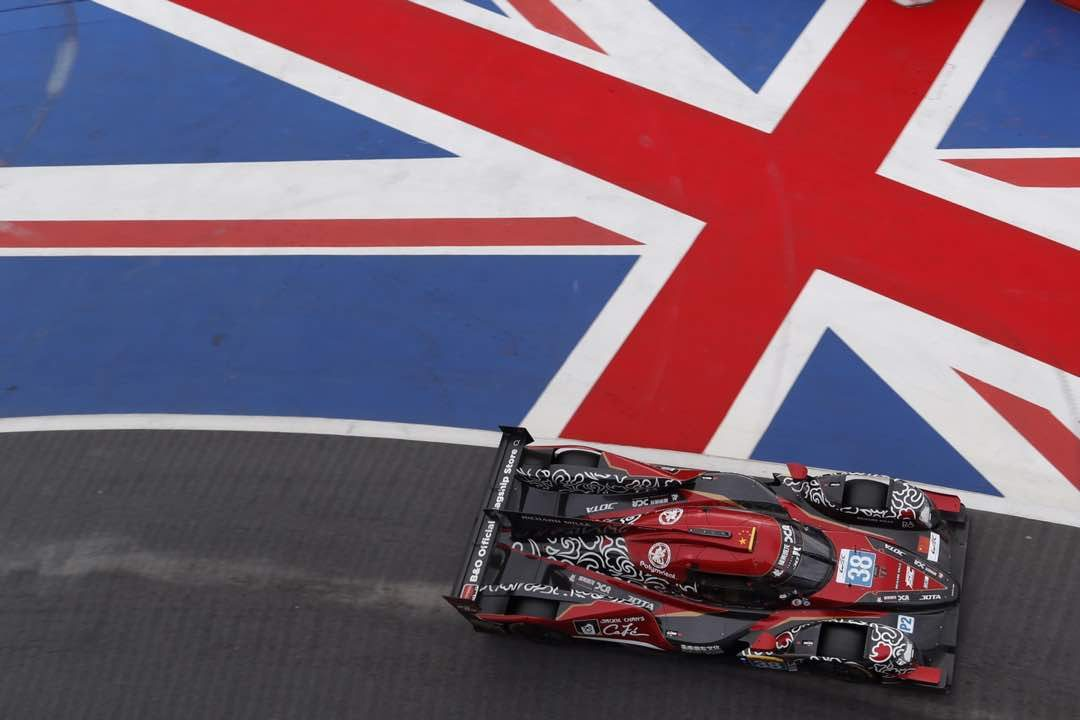 Jackie Chan DC Racing No. 38 Oreca Gibson LMP2 racer competes at Silverstone in the UK in 2018. Photo: Courtesy Jackie Chan DC Racing.