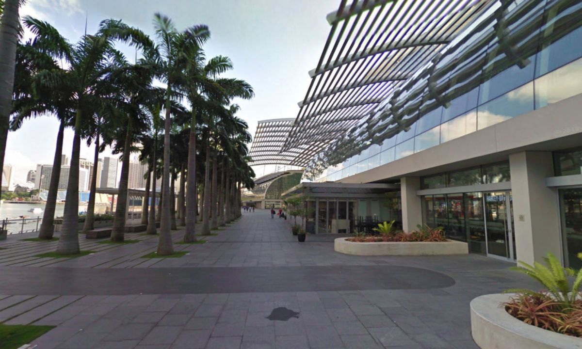 The outdoor area of the Marina Bay Sands in Singapore where the assault took place. Photo: Google Maps