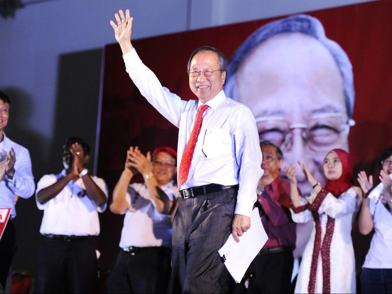 Then presidential candidate Tan Cheng Bock greets the public before a rally speech in Singapore in a file photo. Photo: AFP/Simin Wang