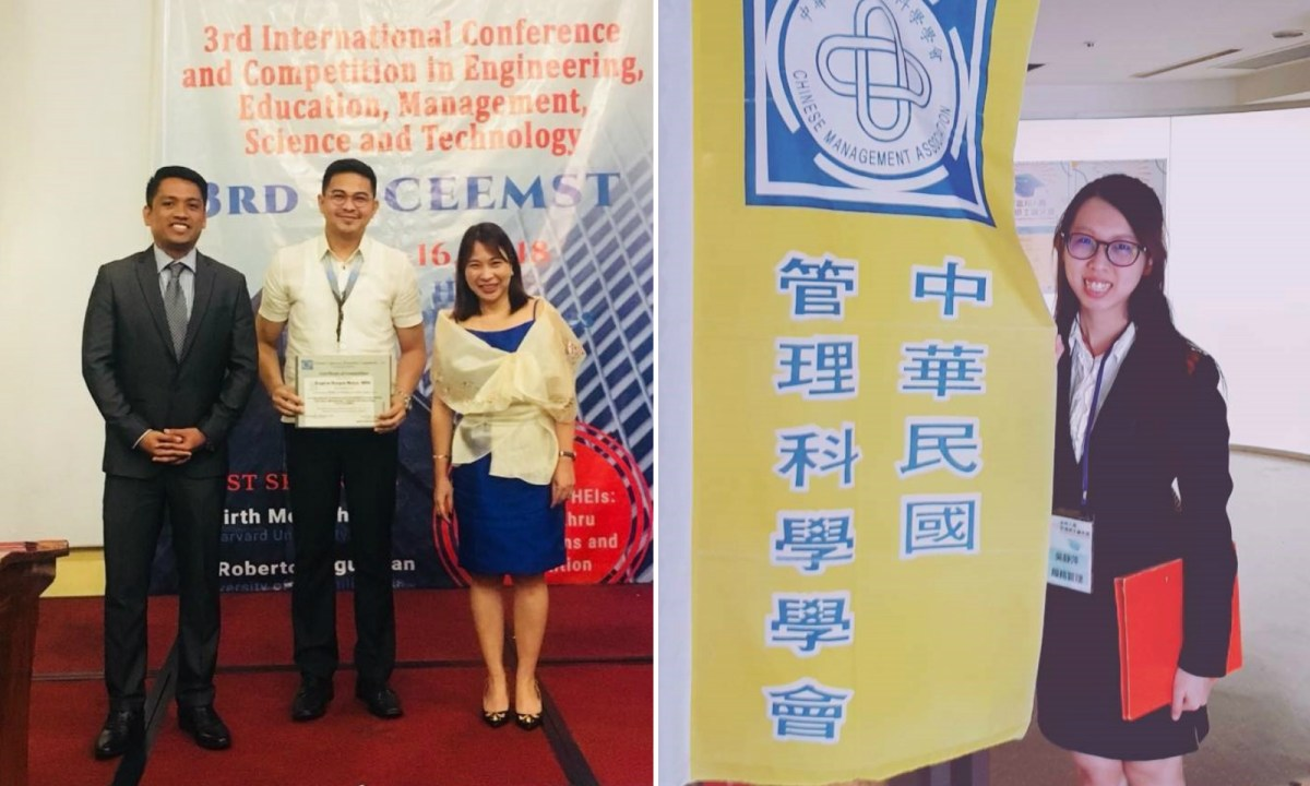 Eugene Mutac (center, left photo) and Wu (right photo) were awarded top prizes in thesis writing. Photos: I-Shou University