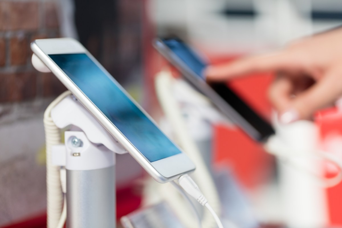 A new phone in an electronics store in China. Photo: iStock