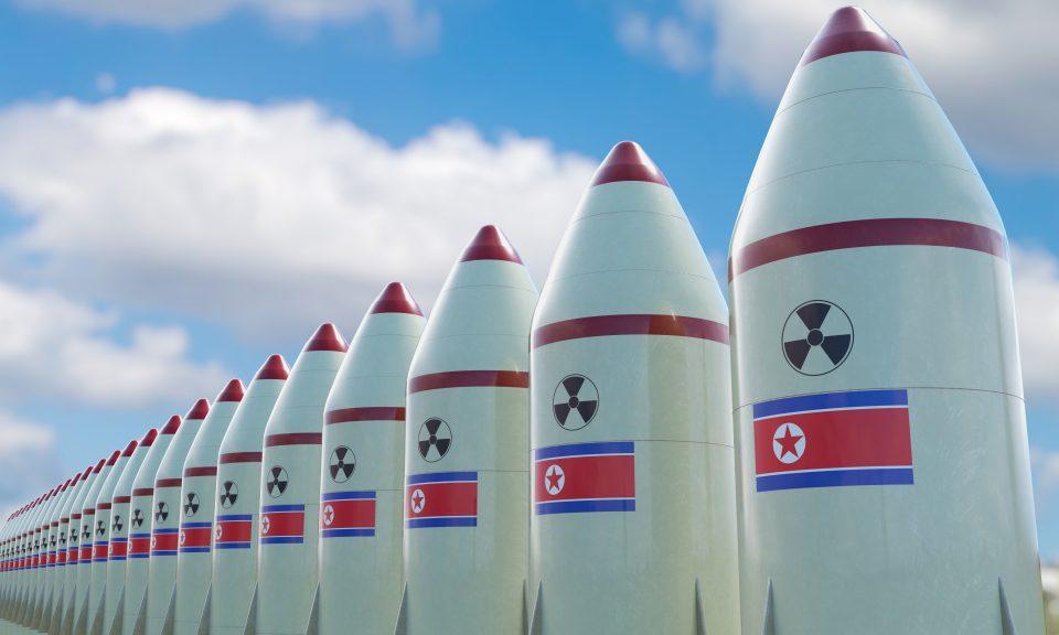 多個印上北韓國旗的核導彈3D電腦繪圖。相片:iStock