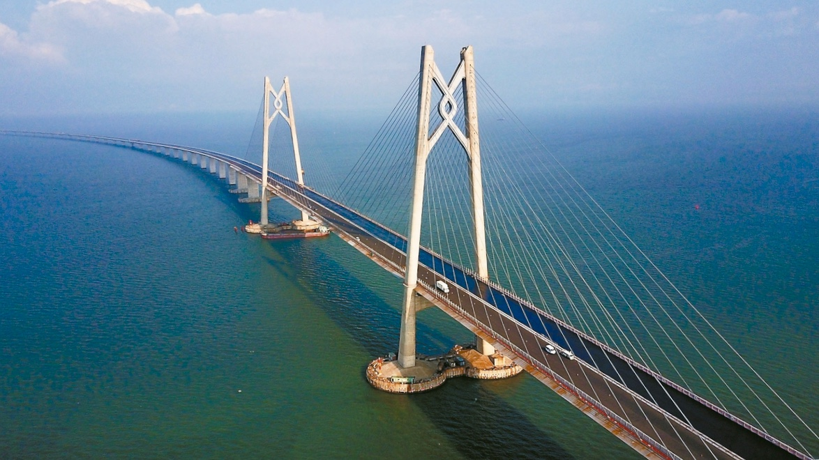 An aerial view of the main pylons of the 50km Hong Kong-Zhuhai-Macau Bridge, erected in the middle of the Pearl River estuary. Photo: Xinhua