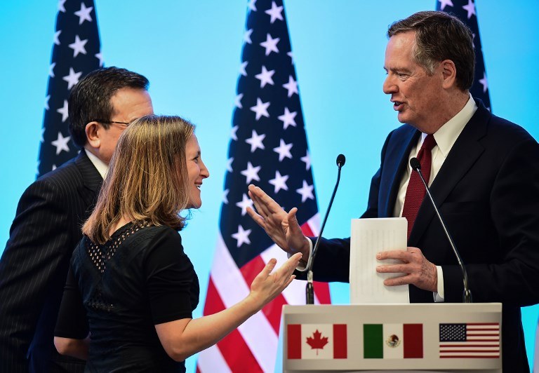 Canadian Minister of Foreign Affairs Chrystia Freeland, Mexican Economy Minister Ildefonso Guajardo and US Trade Representative Robert Lighthizer. Photo: AFP/Ronaldo Schemidt