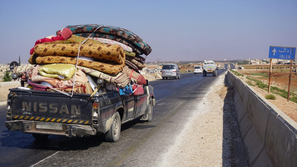 Syrian families flee bombardment on Idlib, the country's last rebel-held province, toward the border with Turkey. Photo: AFP/Muhammad Haj Kadour