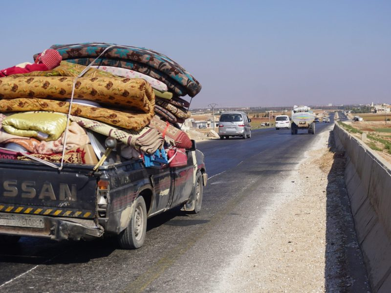 Syrian families flee bombardment on Idlib, the country's last rebel-held province, toward the border with Turkey. Photo: AFP/Muhammad Haj Kadour