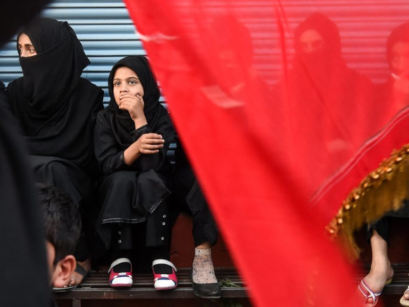 Kashmiri Shiite Muslim women look on during a religious procession held in Srinagar. Photo: AFP