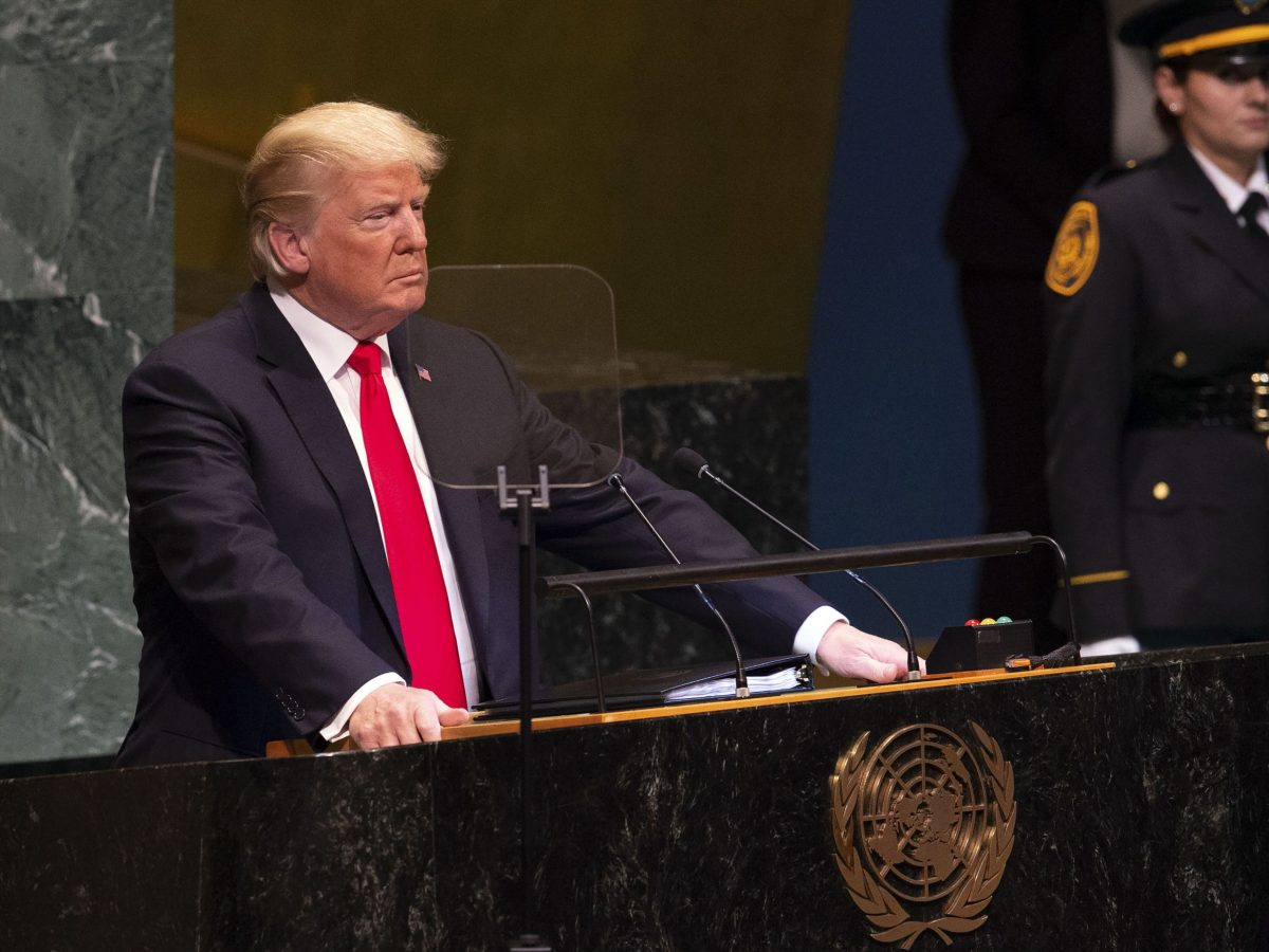 US President Donald Trump addresses the UN General Assembly in New York on September 25, 2018.  Photo: AFP / Bryan R. Smith