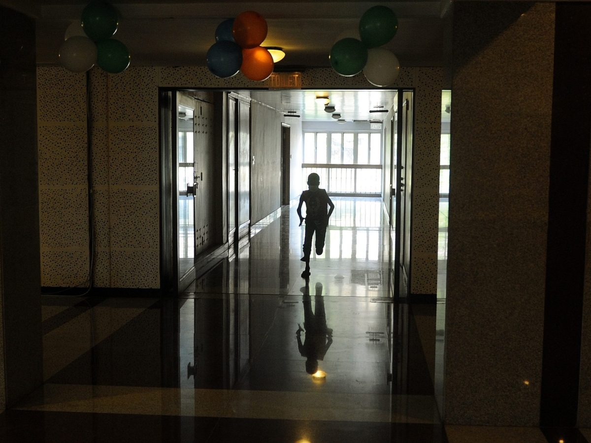 A child undergoing cancer treatment runs inside the Tata Memorial hospital in Mumbai. Photo: AFP