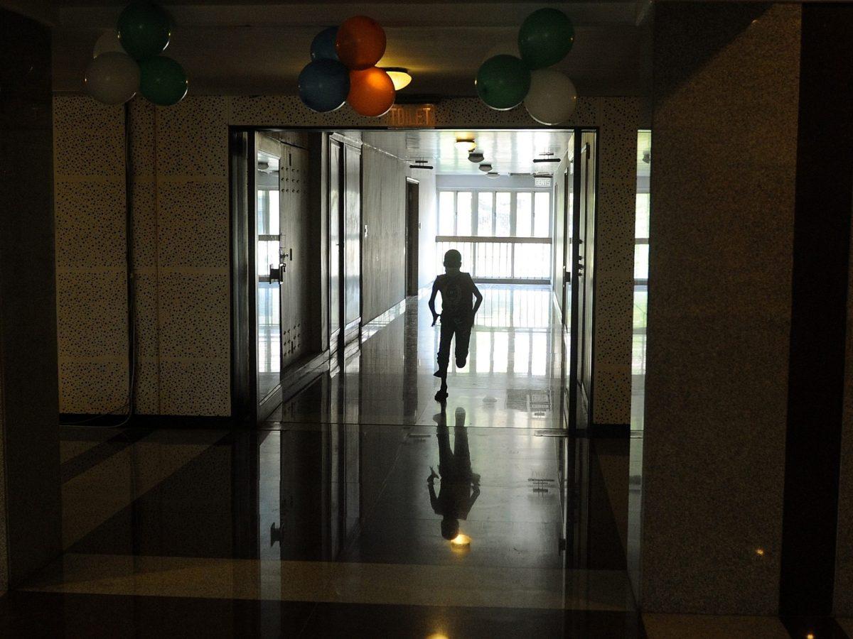 A child undergoing cancer treatment runs inside the Tata Memorial hospital in Mumbai. Photo: AFP