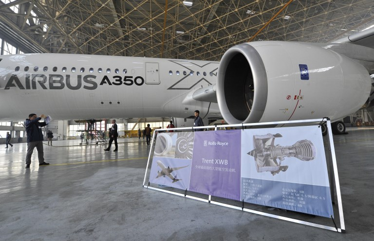 A test aircraft of Airbus A350-900 is on display at the Beijing Capital International Airport. Photo: AFP