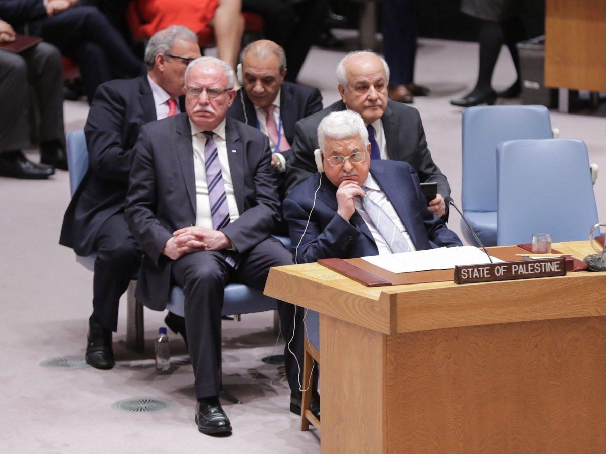 Palestinian President Mahmoud Abbas listens during a UN Security Council meeting. Photo: Luiz Rampelotto/ Europa Newswire