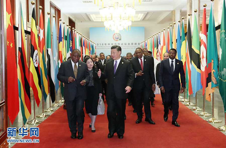 Chinese President Xi Jinping and leaders of 54 African nations are seen inside the Great Hall of the People on Monday in Beijing. Photo: Xinhua