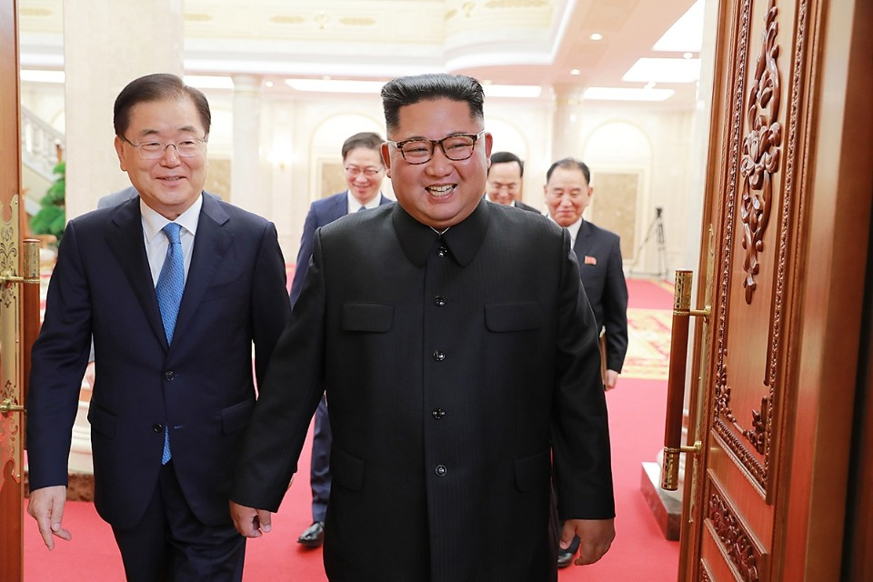 South Korean National Security Adviser Chung Eui-Yong meets North Korean leader Kim Jong Un in Pyongyang on Sept 5, 2018. Photo: The Blue House, PM's office, Seoul