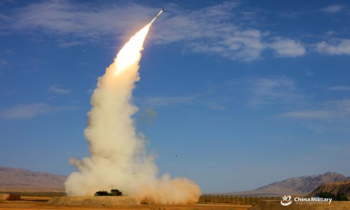 The S-300 air defence system launching a missile during a drill in August. Photo: PLA Daily